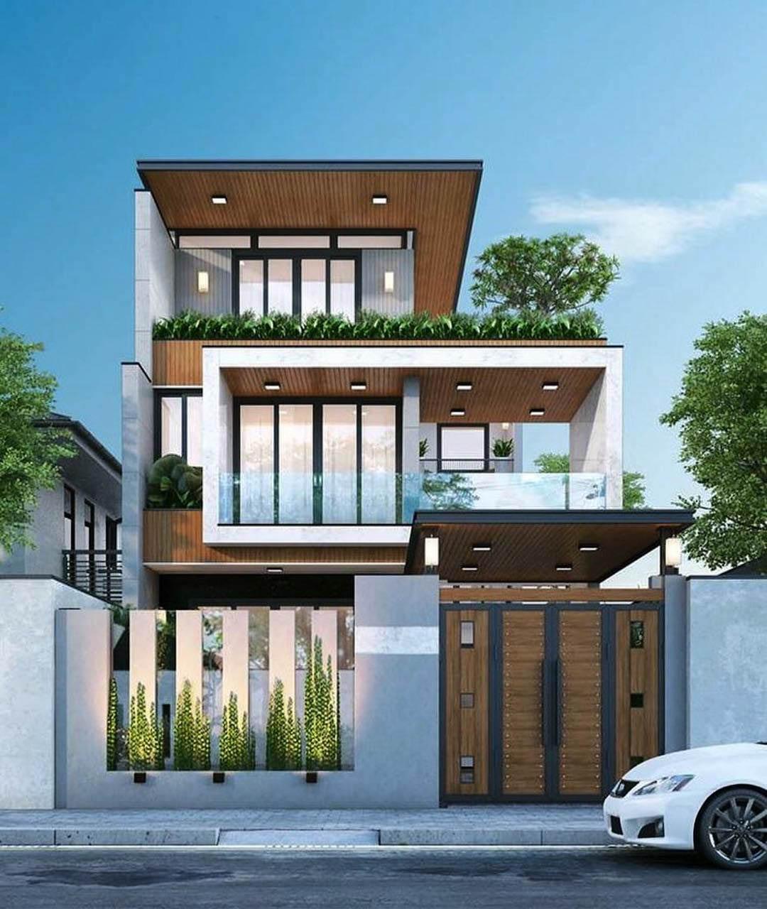 Mẫu nhà phố 3 tầng kết hợp vật liệu gỗ tạo điểm nhấn
