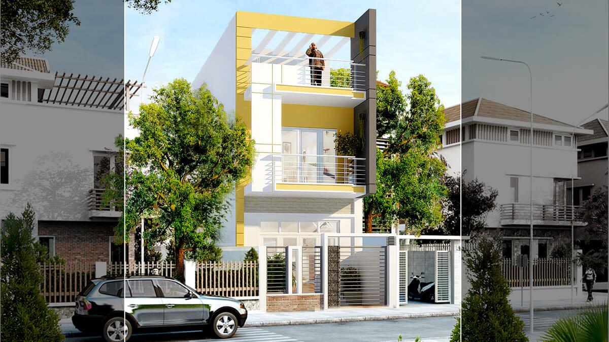 Ý tưởng thiết kế nhà phố kết hợp sơn màu vàng nổi bật