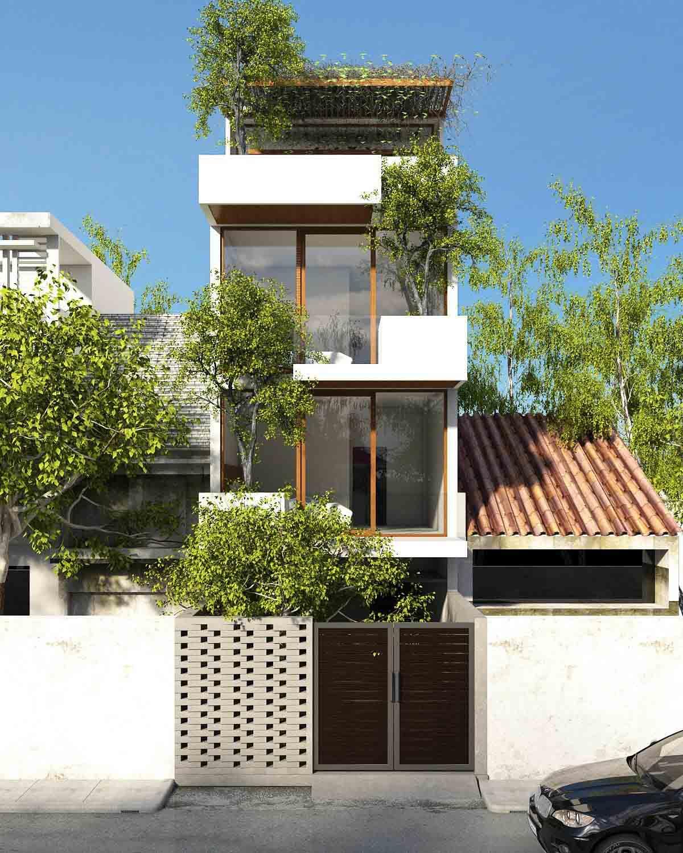 Mẫu nhà phố kiến trúc xanh mặt tiền 6m