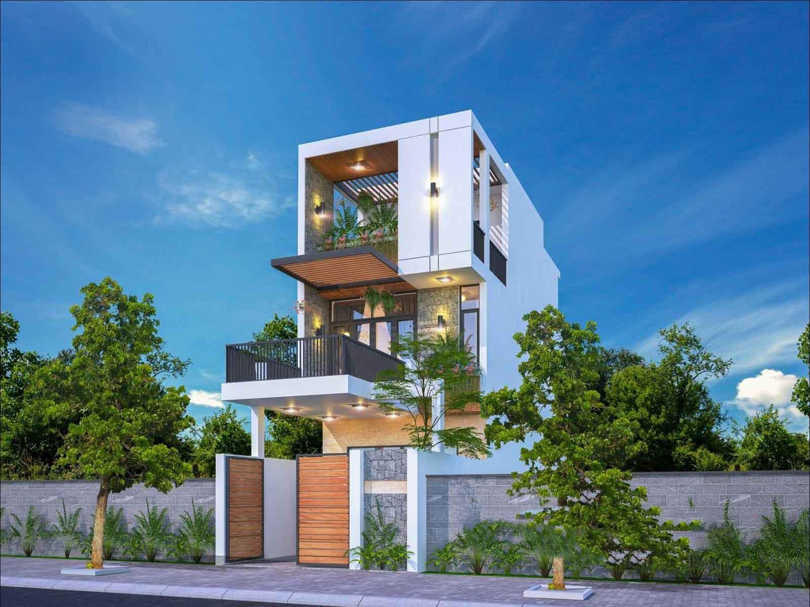 Ý tưởng thiết kế nhà phố 3 tầng gần gũi với thiên nhiên